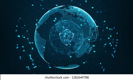 Internet technology network and cyber security concept .Shield icon on secure data global network technology With social network icons surrounded, cyber attack protection for worldwide connections.