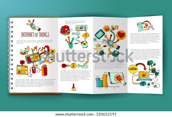 Internet of things brochure template with hand drawn remote control systems elements  illustration