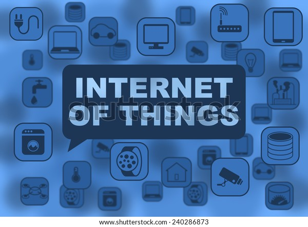 Internet of things illustration with various objects flying around like notebooks, tablets, smart watches, routers, network devices, computers, cameras, thermostats, sensors