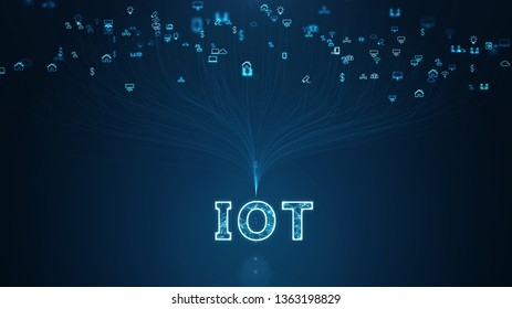 Internet Of Things (IOT) Concept.Big Data Cloud Computing Network Of Physical Devices With  Secure Network Connectivity.