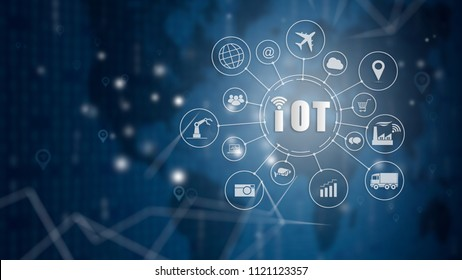 Internet of things (IOT) word and objects icon connecting together with abstract technology background, Internet networking concept, Connect global wireless devices with each other.