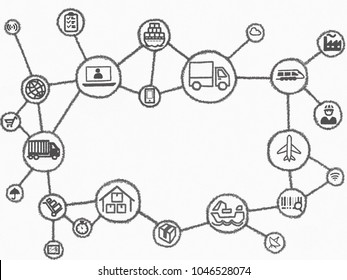 internet of things in logistics and shipping industry. The hand drawn network consists icons of transportation onshore, offshore, airfreight, cargo, warehouse, package, container ship, box, RFID etc