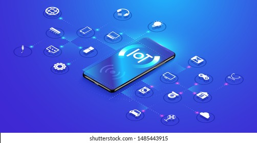 Internet of things on isometric design. Smartphone network communications with things and objects, mobile device connectivity concept