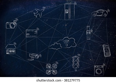 internet of things, smart connected objects communicating over a network (hand drawn low-poly inspired)(credit card intentionally designed with unmatchable shorter than usual number ending in -X)
