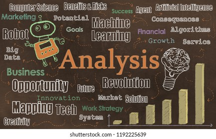 Internet Tools, Analysis and Opportuniities with Tech Words on Brown Blackboard. Illustrated with Robot and Words of Technology