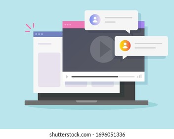 Internet video call online player on laptop computer website window or pc digital web webinar discussion service flat cartoon illustration, concept of internet tutorial or courses modern design