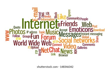 Internet word cloud. Frequent words related to social networks.