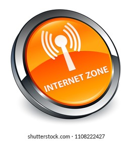 Internet zone (wlan network) isolated on 3d orange round button abstract illustration
