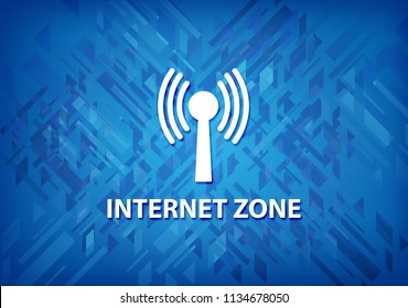 Internet zone (wlan network) isolated on blue background abstract illustration