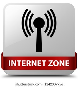 Internet zone (wlan network) isolated on white square button with red ribbon in middle abstract illustration