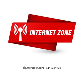 Internet zone (wlan network) isolated on premium red tag sign abstract illustration