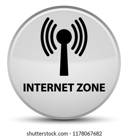 Internet zone (wlan network) isolated on special white round button abstract illustration