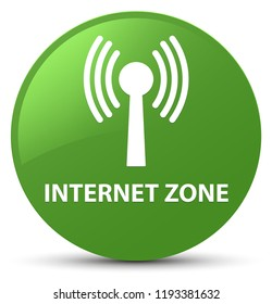 Internet zone (wlan network) isolated on soft green round button abstract illustration
