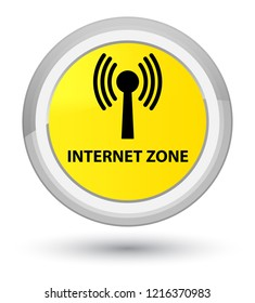 Internet zone (wlan network) isolated on prime yellow round button abstract illustration