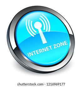 Internet zone (wlan network) isolated on 3d cyan blue round button abstract illustration