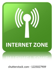 Internet zone (wlan network) isolated on soft green square button reflected abstract illustration