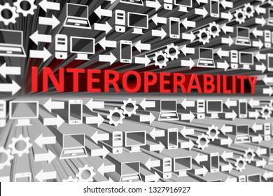 INTEROPERABILITY concept blurred background 3d render illustration