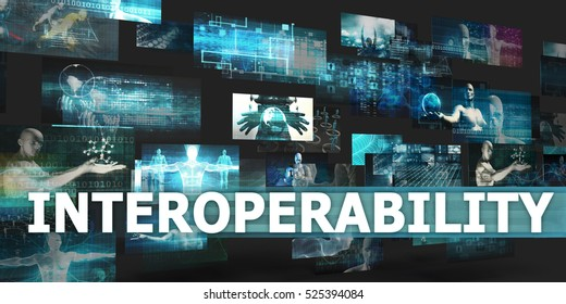 Interoperability Presentation Background with Technology Abstract Art