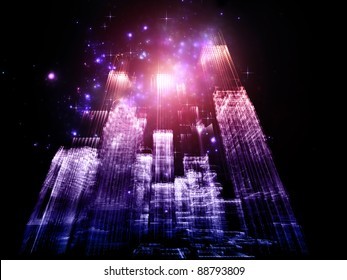 Interplay of abstract lights and skyscraper structures on the subject of modern metropolis and city life
