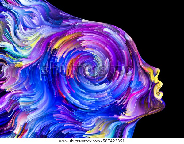 Interplay of Human profiles and swirls of colorful paint on the subject of emotion, passion, desire, feelings, inner world, imagination and creativity