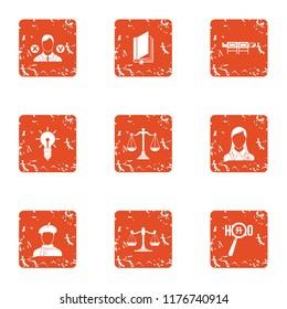 Interpretation icons set. Grunge set of 9 interpretation icons for web isolated on white background