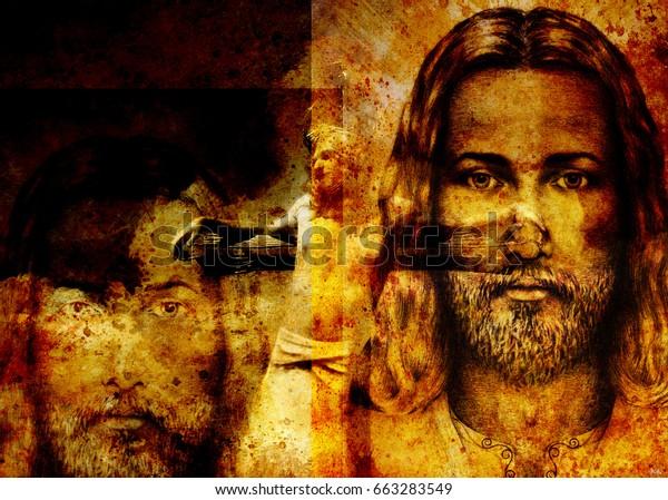 interpretation of Jesus on the cross, graphic painting version. Sepia effect.