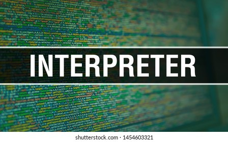 Interpreter with Binary code digital technology background. Abstract background with program code and Interpreter. Programming and coding technology background. Interpreter with Program listing