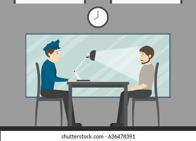 Interrogation of the guilty man in the police station. Investigation room.