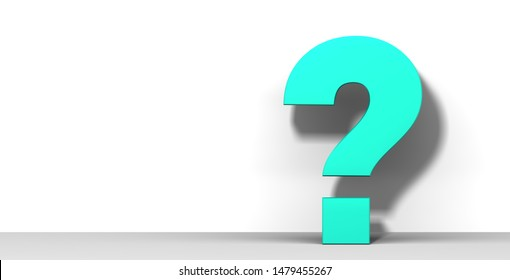 interrogation point interrogation mark question mark 3d rendering turquoise sign query symbol ask icon isolated
