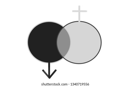 intersecting circles - Male and female symbol - Coexistence symbol