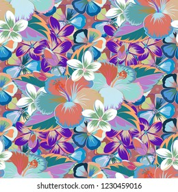 Intersecting curved elegant stylized hibiscus flowers, leaves and scrolls forming abstract floral ornament in Arabic style. Vintage abstract floral seamless pattern in pink, blue and violet colors.