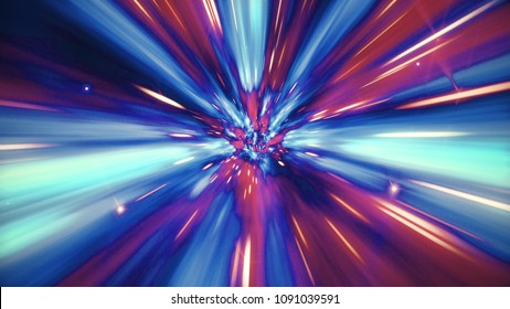 Interstellar travel through a blue and red wormhole filled with stars. Space journey through time continuum. Warp in science fiction black hole vortex hyperspace tunnel