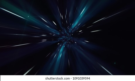 Interstellar travel through a dark blue wormhole filled with stars. Space journey through time continuum. Warp in science fiction black hole vortex hyperspace tunnel