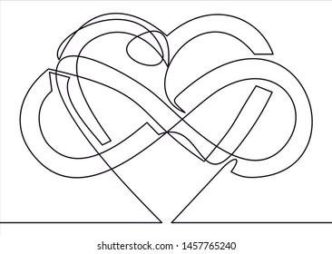 Intertwined Heart with The Sign of Infinity. Love forever-continuous line