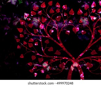 intertwined stylized branches with heart shaped leaves, central heart shape formed by branches, brightly colored, foliage texture on dark background,