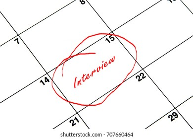 Interview Circled on A Calendar in Red