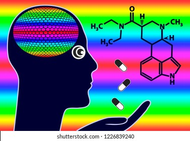 Intoxicated person on LSD Trip. Concept illustration of getting high on hallucinogenic drugs