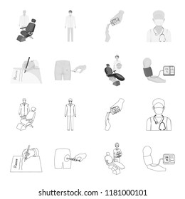 Intramuscular injection, prescription, Dentist, blood pressure measurement. Medicineset collection icons in outline,monochrome style bitmap symbol stock illustration web.