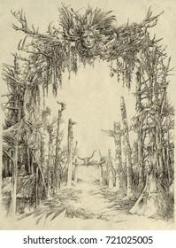 Intricacy handmade drawing with many pagan motifs.