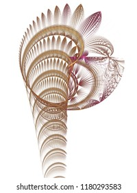 Intricate abstract copper, gold and purple Olympic torch (3D illustration, white background)