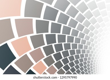 Intricate beige and grey curved pathway (3D illustration, white background)
