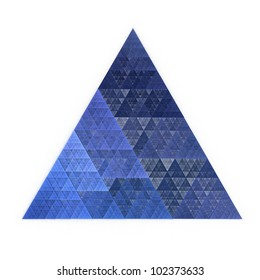Intricate blue abstract equilateral triangle on white background