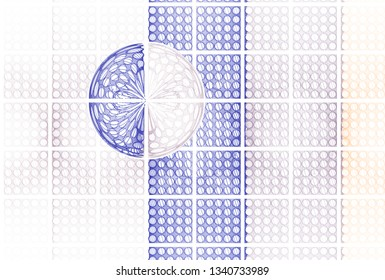 Intricate blue, copper and silver hole tile design (3D illustration, white background)