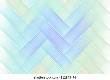 Intricate blue, green and orange string zigzag design on background