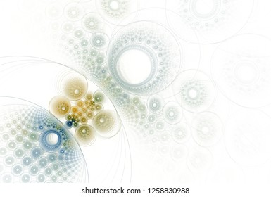 Intricate blue, green and teal abstract disc / hole design (3D illustration, white background)