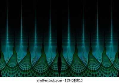 Intricate blue, green and teal ripple flame design (3D illustration, black background)