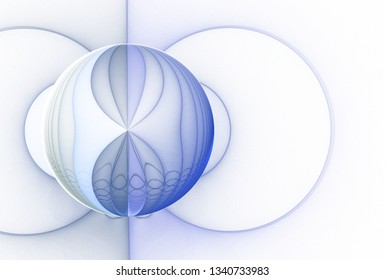 Intricate blue, green, teal and silver abstract sphere design (3D illustration, white background)