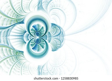 Intricate blue, green and teal woven flower / infinity design (3D illustration, white background)