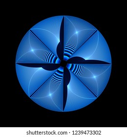 Intricate blue, navy and white abstract woven ripple disc design (3D illustration, black background)