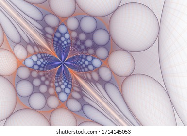 Intricate blue and orange abstract metallic flower design (3D illustration, white background)
